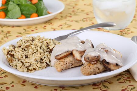 Chicken breasts with mushroom sauce and rice