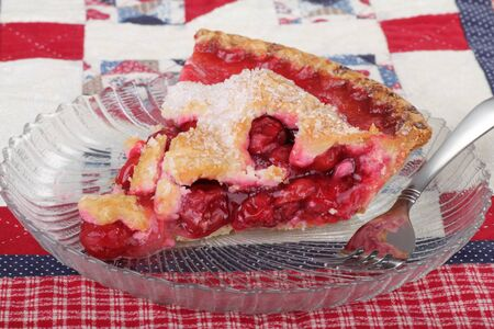 Slice of cherry pie on a glass plate Stock Photo - 8384782