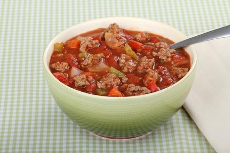 豆とコショウでチリのボウル