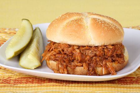 Pulled pork barbeque sandwich with pickles on a plate Фото со стока
