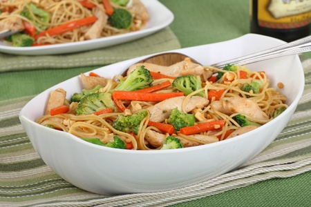 Chicken lo mein with carrots and broccoli  photo