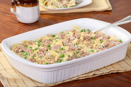 Tuna casserole meal in a serving dish Stock Photo
