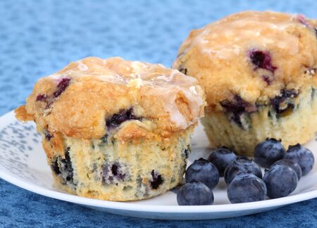 baked treat: Two blueberry muffins with berries on a plate Stock Photo