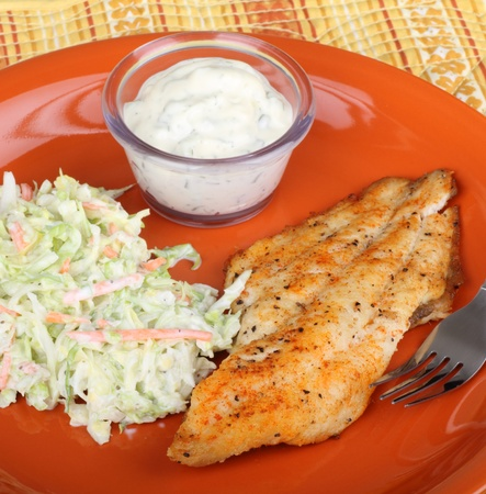 Catfish fillet meal with coleslaw and tartar sauce Stock Photo
