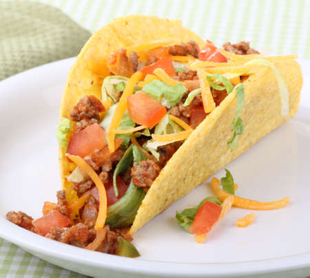 Closeup of a taco on a plate