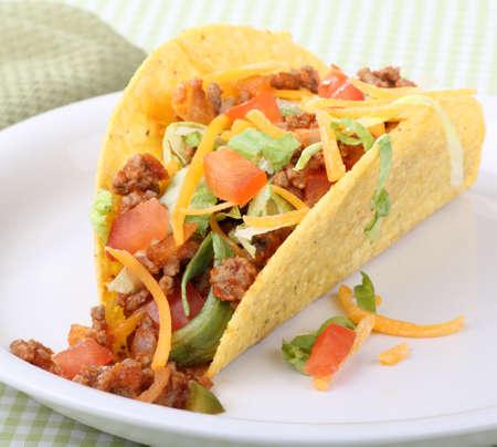 Closeup of a taco on a plate