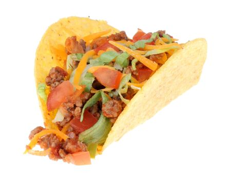 One taco isolated on a white background