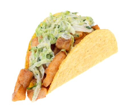 Fish taco topped with coleslaw isolated on white Stock Photo