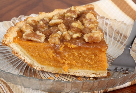 Slice of pumpkin pie on a plate Stock Photo - 9641862
