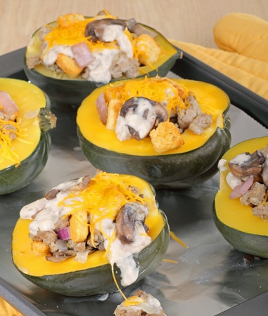 Baked stuffed squash on a baking sheet