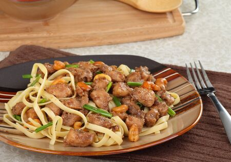 Plate of cashew chicken with noodle meal