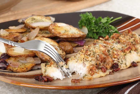 Breaded baked fish fillet with potatoes dinner