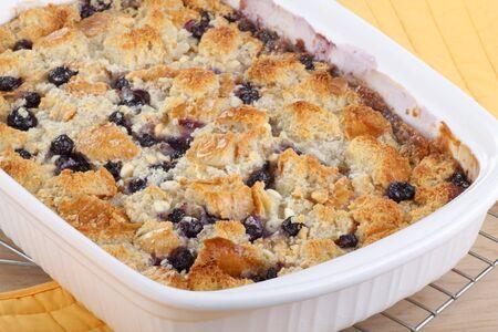cobbler: Baked blueberry cobbler in a baking dish