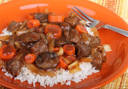 Closeup of a plate of beef stew