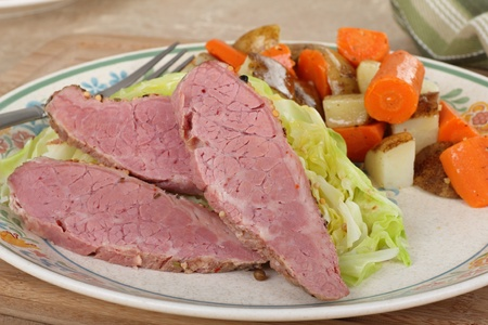 Corned beef and cabbage dinner with vegetables  Stock Photo