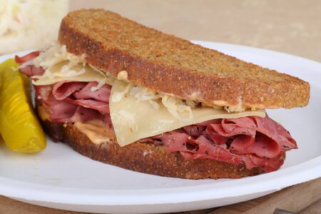 reuben: Reuben sandwich with pastrami and swiss cheese Stock Photo