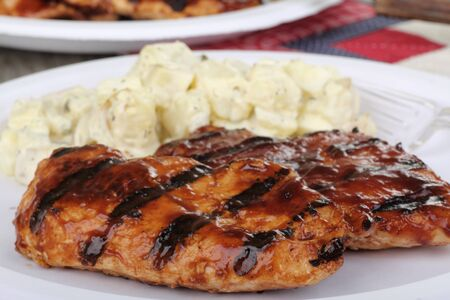 Two grilled barbeque chicken breast dinner with potato salad Banco de Imagens