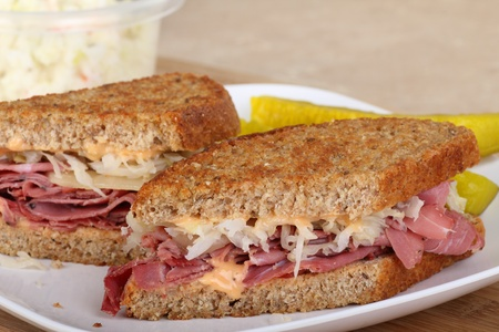 Reuben sandwich with pastrami on a plate