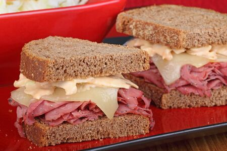 reuben: Pastrami and cheese sandwich on rye bread Stock Photo