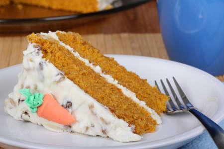carrot cake: Slice of carrot cake on a plate