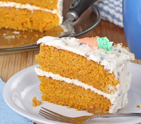 carrot cake: Slice of carrot layer cake on a plate Stock Photo