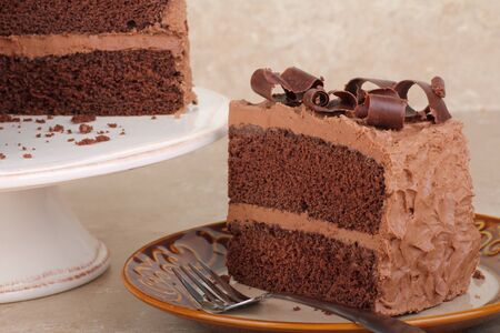Piece of chocolate layer cake on a plate