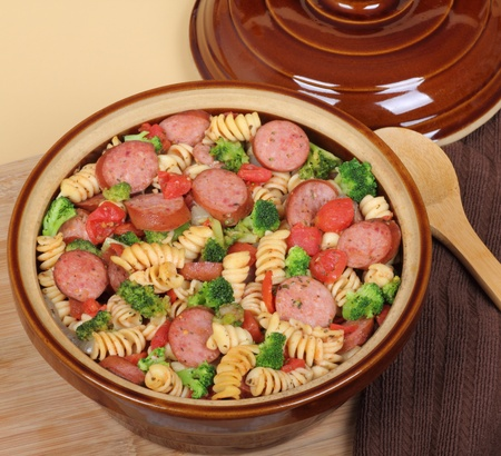 sausage pot: Sausage, pasta and broccoli casserole in a pot