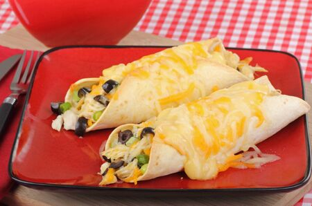 sause: Two chicken enchiladas with cheese sause on a plate
