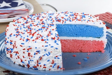 Red white and blue cake on a platter Stock Photo - 13508510