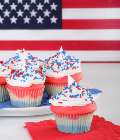 Red white and blue cupcake with american flag photo