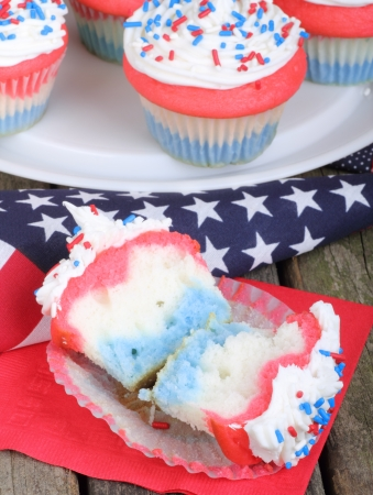Independence day cupcake with an american flag photo