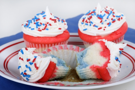 USA independence day cupcakes on a plate photo