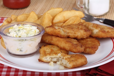 Battered fish fillet meal with french fries and tartar sauce