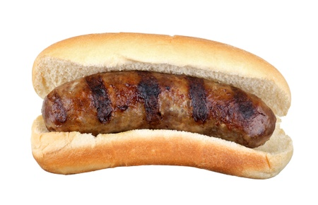 Grilled bratwurst on a bun isolated on white Stock Photo - 15193688