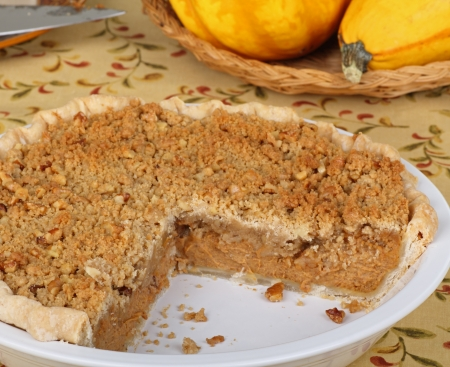 Pumpkin streusel pie in a pie dish photo