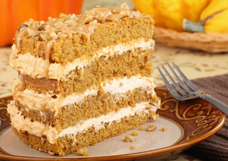 Piece of pumpkin cake on a plate Stock Photo