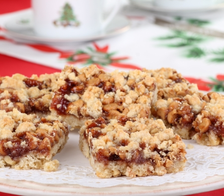 Christmas strawberry nut bars on a platter