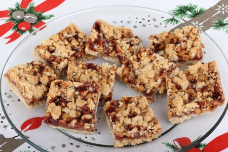 Top view of a platter of Christmas strawberry bars Stock Photo - 15894156