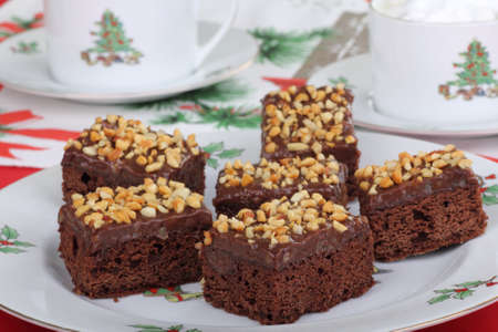 Plate of Christmas brownies with chocolate nut icing Stock Photo - 16000133
