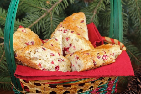 Closeup of cranberry and nut scones in a Christmas basket Stock Photo - 16113265