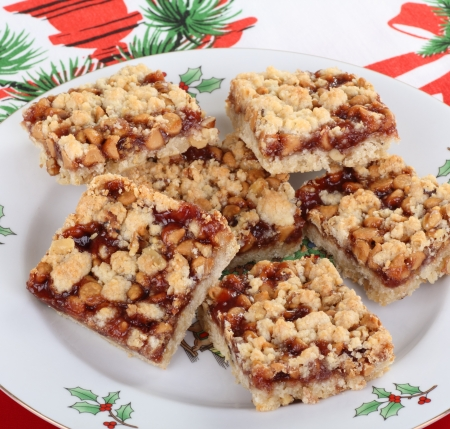 Christmas plate of strawberry and nut bars Stock Photo - 16113267