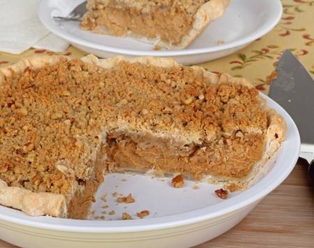 Sliced pumpkin pie in a pie dish Stock Photo - 16113255