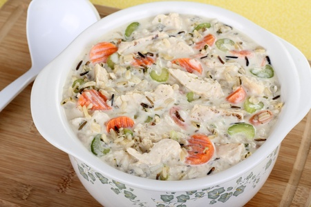 Creamy chicken, vegetable and rice soup in a pot Stock Photo - 16113254