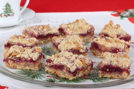 Platter of cranberry and peanut butter chip bars Stock Photo - 16113257