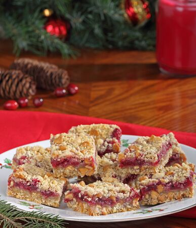 Plate of Christmas cranberry bars with peanut butter chips Stock Photo - 16113259