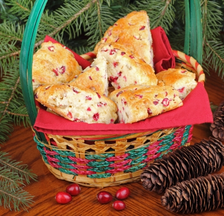 Cranberry and nut scones in a Christmas basket Stock Photo - 16113258