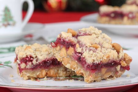 Cranberry peanut butter chip bars on a Christmas plate Stock Photo - 16113256