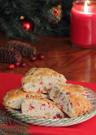 Cranberry nut scones with Christmas decorations in background Stock Photo - 16113263