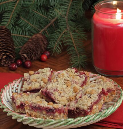 Holiday cranberry and peanut butter bars on a plate Stock Photo - 16240858