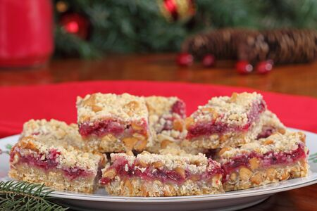 Holiday cranberry and peanut butter chip bars on a plate Stock Photo - 16240852
